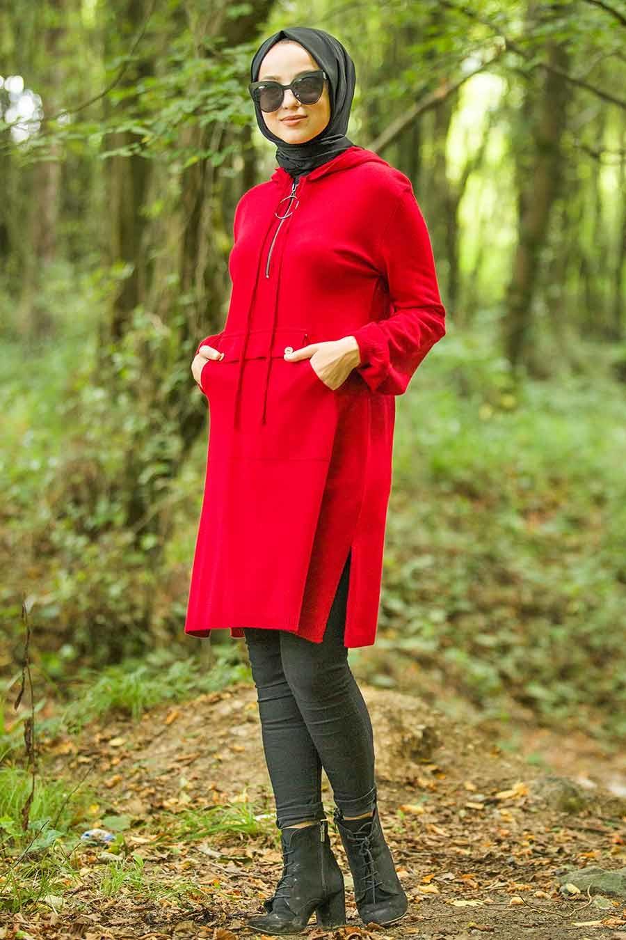 Neva Style - Kapşonlu Kırmızı Tesettür Triko Tunik 14606K