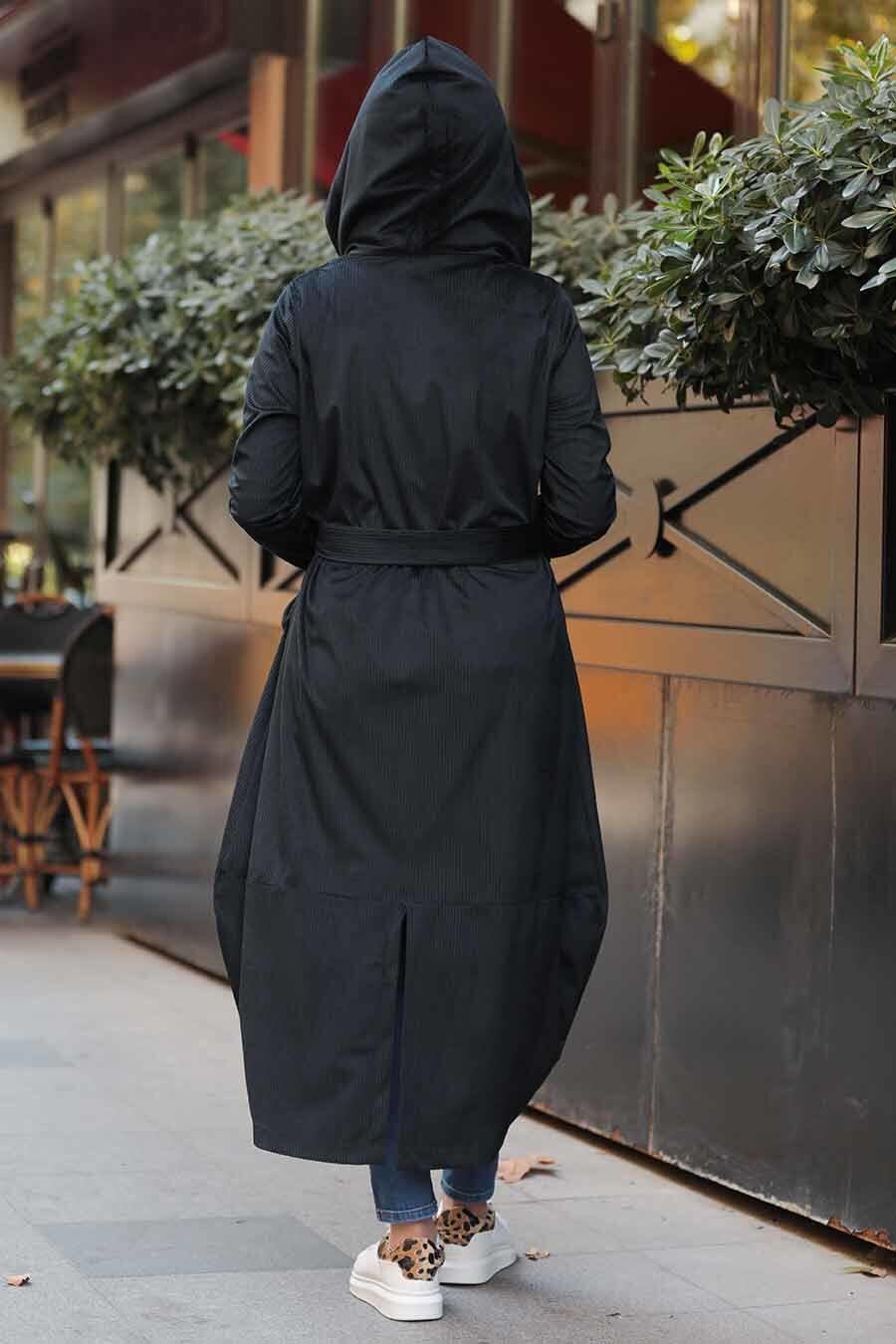 Neva Style - Kapşonlu Siyah Tesettür Fitilli Kadife Kap 8845S