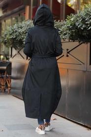 Neva Style - Kapşonlu Siyah Tesettür Fitilli Kadife Kap 8845S - Thumbnail