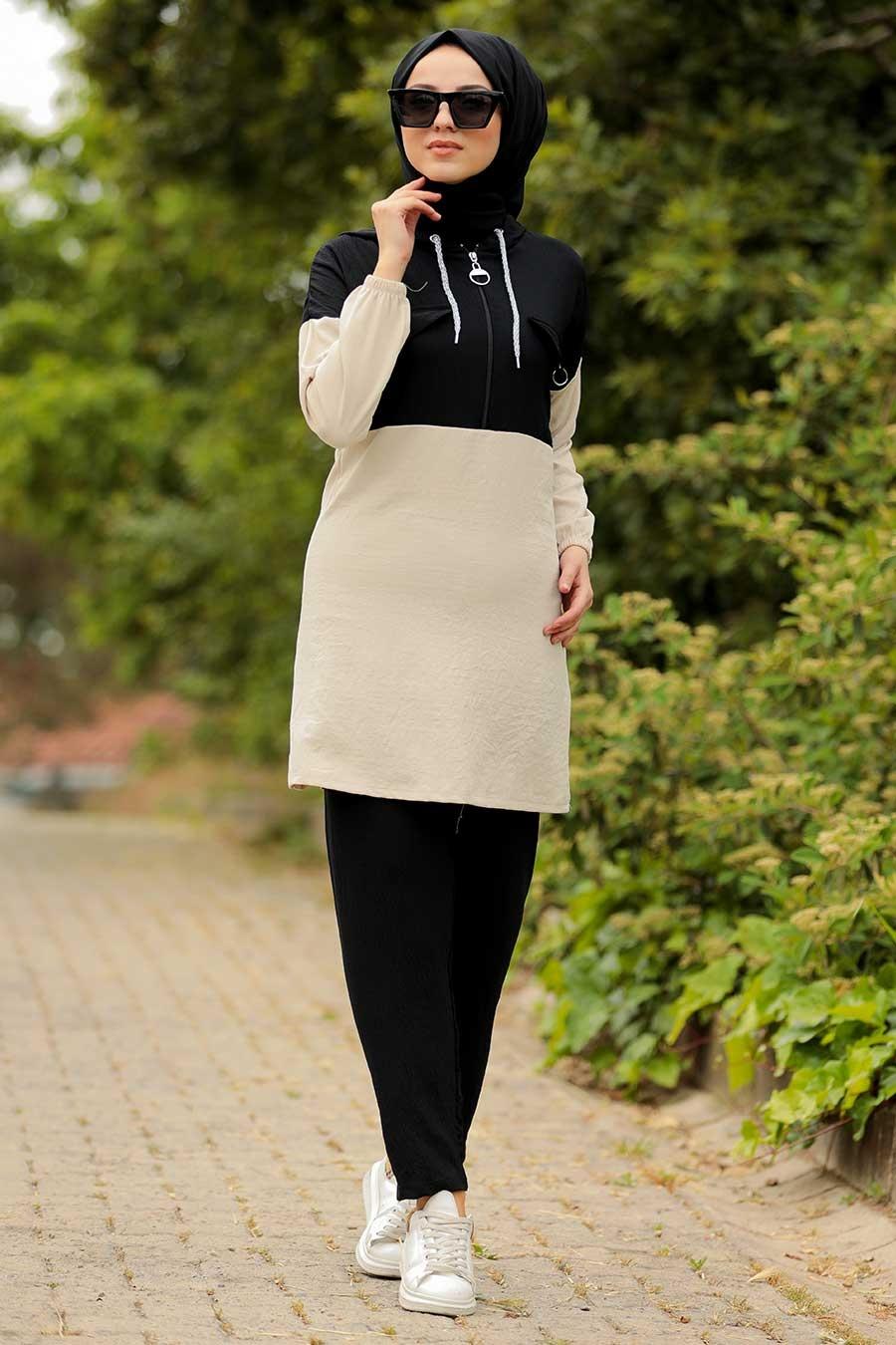 Neva Style - Kapşonlu Siyah Tesettür İkili Takım 9621S