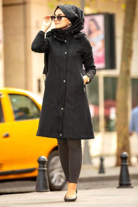 Neva Style - Kapşonlu Siyah Tesettür Kaban 2261S