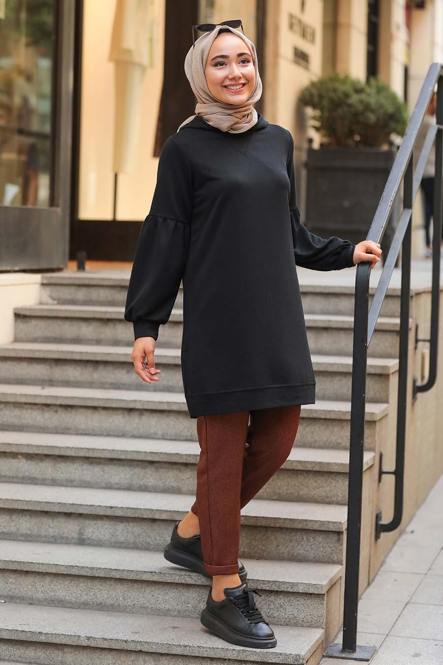 Neva Style - Kapşonlu Siyah Tesettür Sweatshirt 1615S
