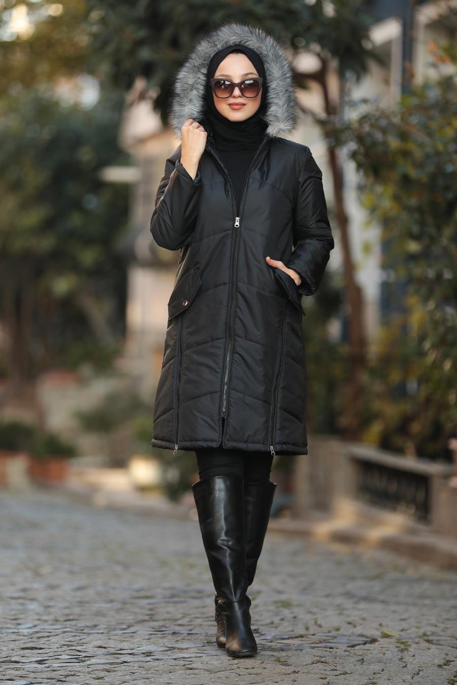 Neva Style - Fermuar Detaylı Siyah Tesettür Şişme Mont 90590S