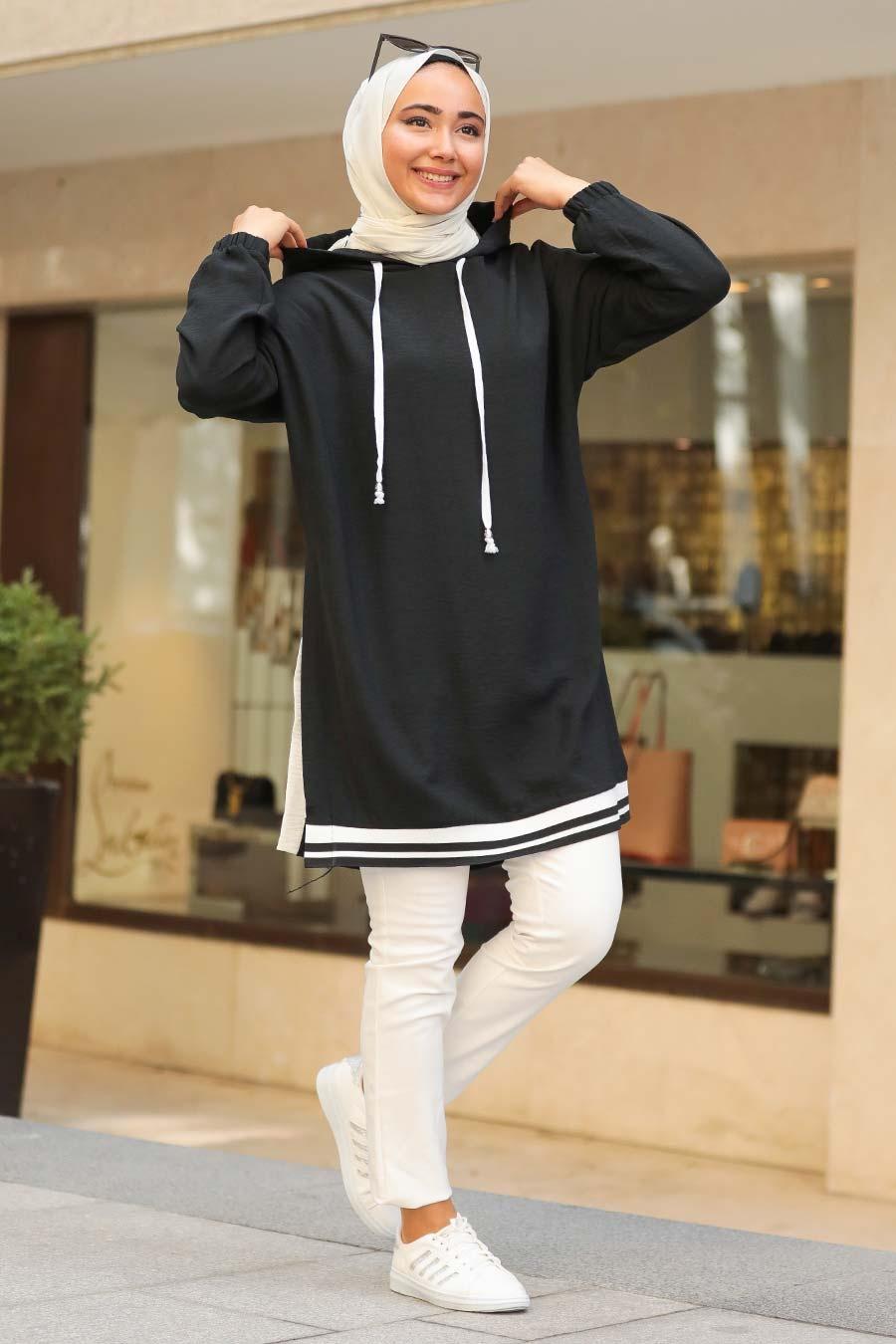 Neva Style - Kapşonlu Siyah Tesettür Sweatshirt & Tunik 23880S