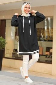 Neva Style - Kapşonlu Siyah Tesettür Sweatshirt & Tunik 23880S - Thumbnail