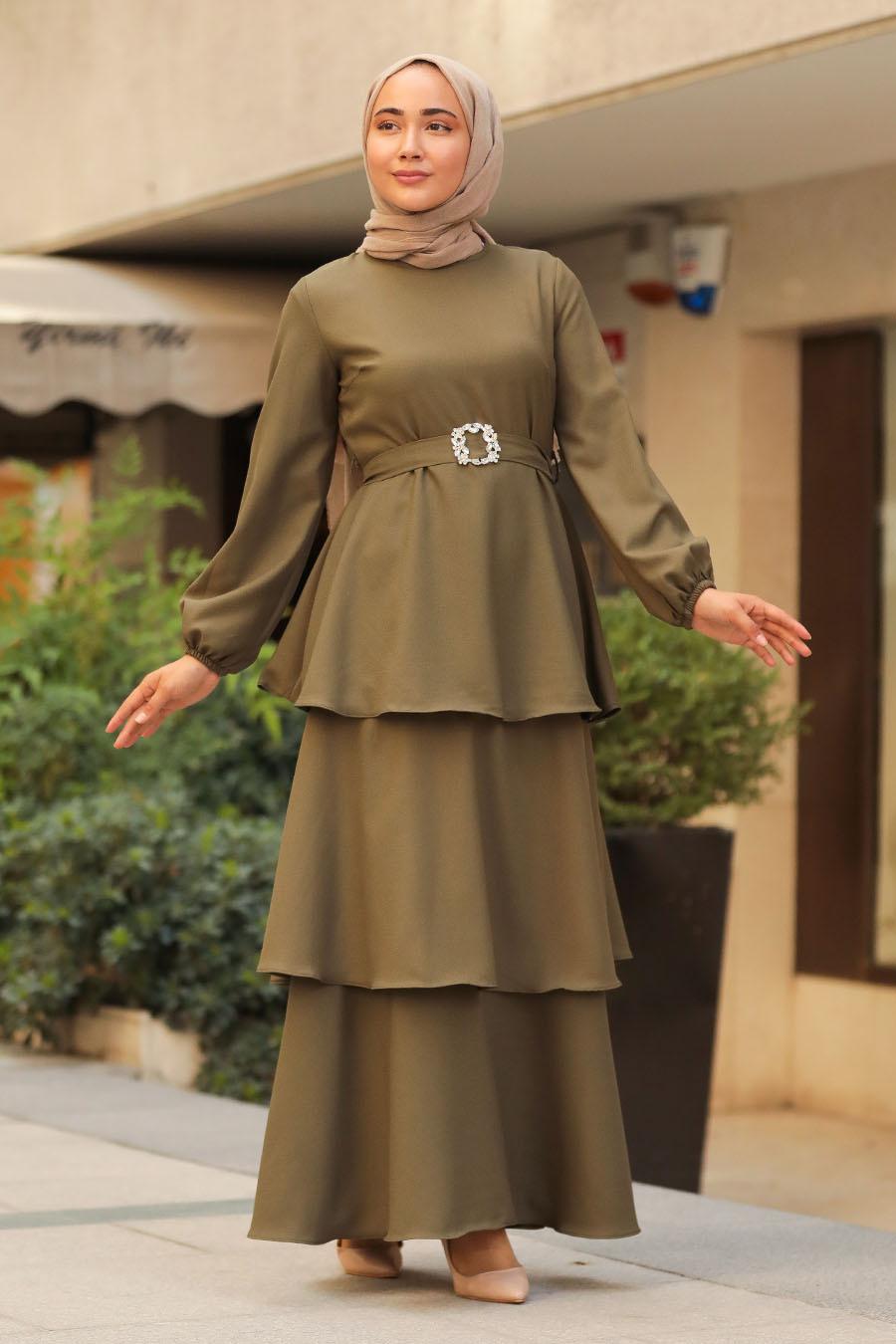 Neva Style - Kat Kat Haki Tesettür Elbise 5171HK