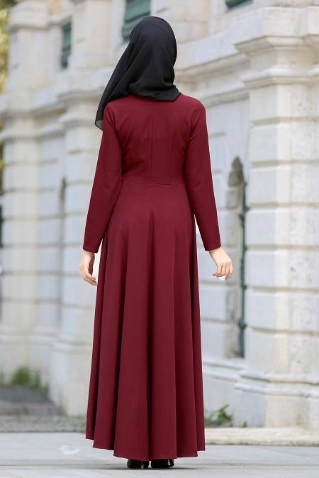 Neva Style - Kelebek Nakışlı Bordo Tesettür Elbise 41960BR