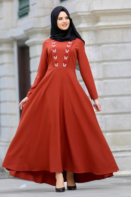 Neva Style - Kelebek Nakışlı Kiremit Tesettür Elbise 41960KRMT