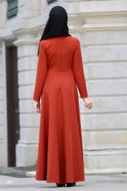 Neva Style - Kelebek Nakışlı Kiremit Tesettür Elbise 41960KRMT - Thumbnail