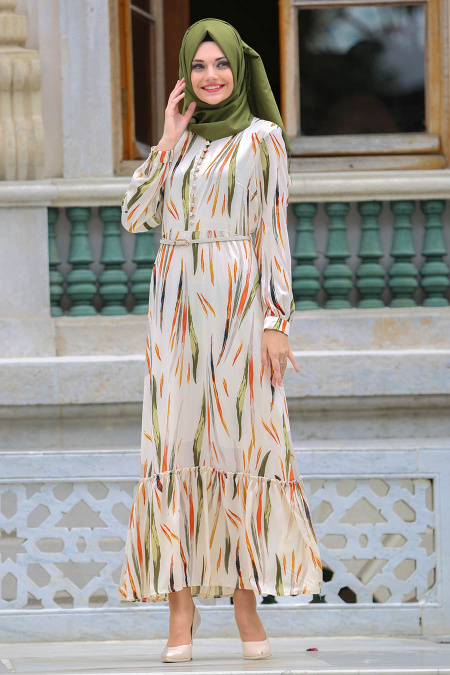 Neva Style - Kemerli Bej Tesettür Elbise 100207BEJ