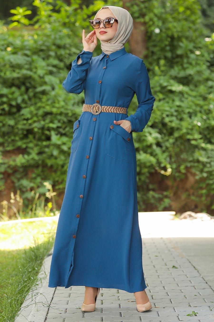 Neva Style - Kemerli İndigo Mavisi Tesettür Elbise 3318IM
