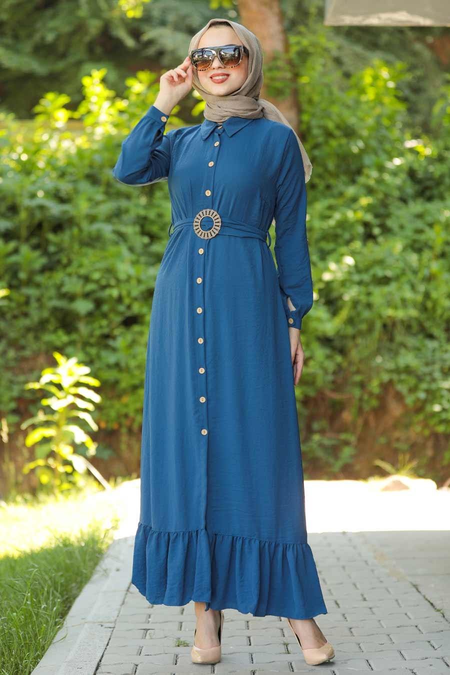 Neva Style - Kemerli İndigo Mavisi Tesettür Elbise 9057IM