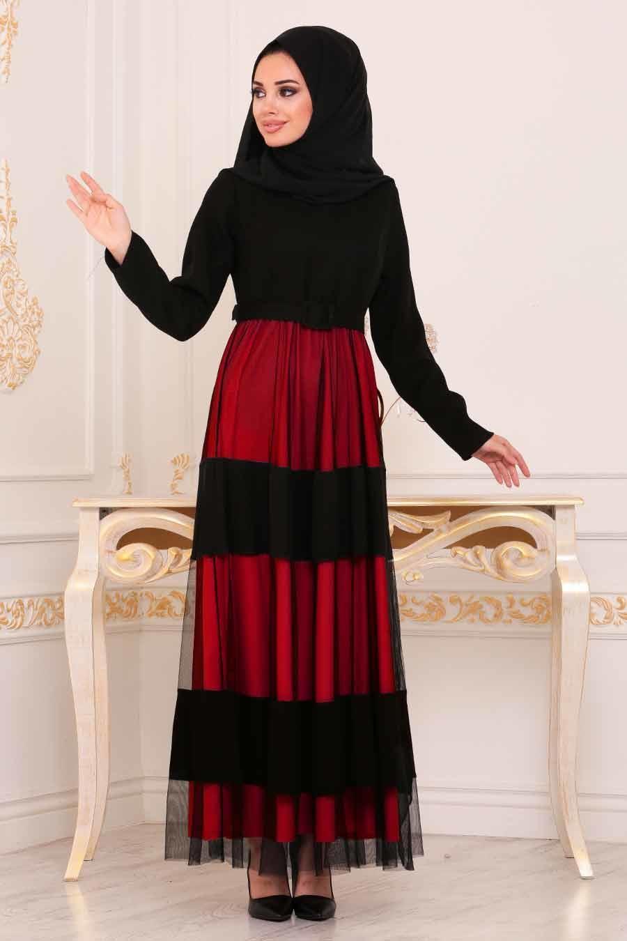 Neva Style - Kemerli Kırmızı Tesettür Elbise 91090K