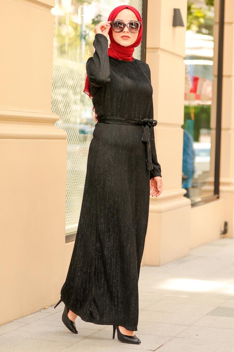 Neva Style - Kemerli Siyah Tesettür Elbise 2741S