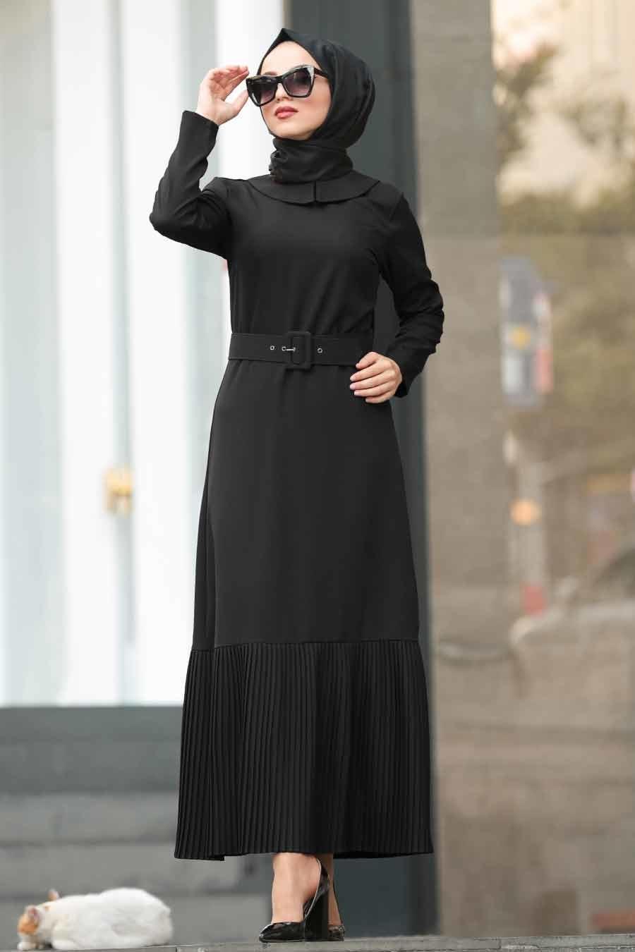 Neva Style - Kemerli Siyah Tesettür Elbise 5021S