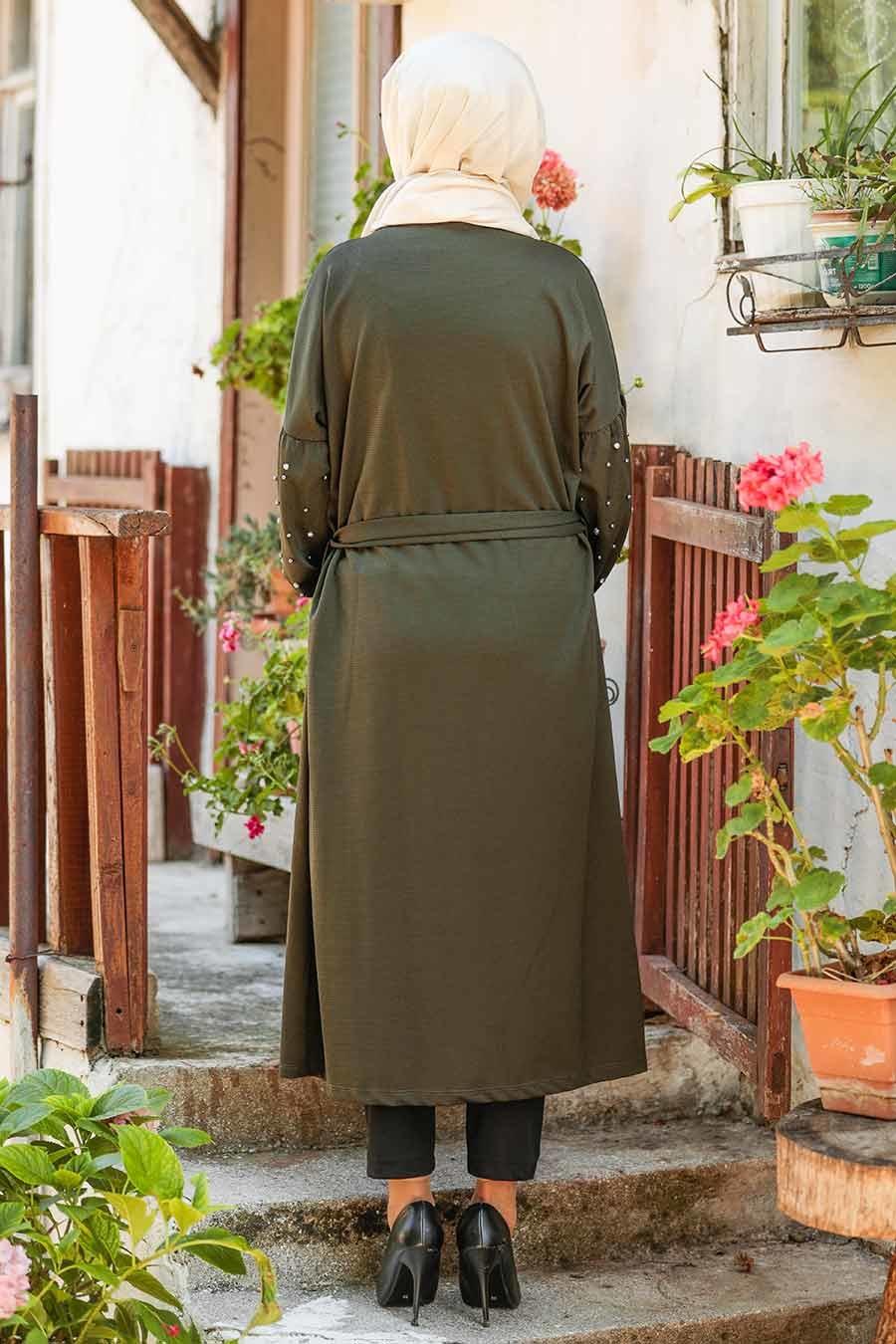 Neva Style - Khaki Hijab Coat 33901HK