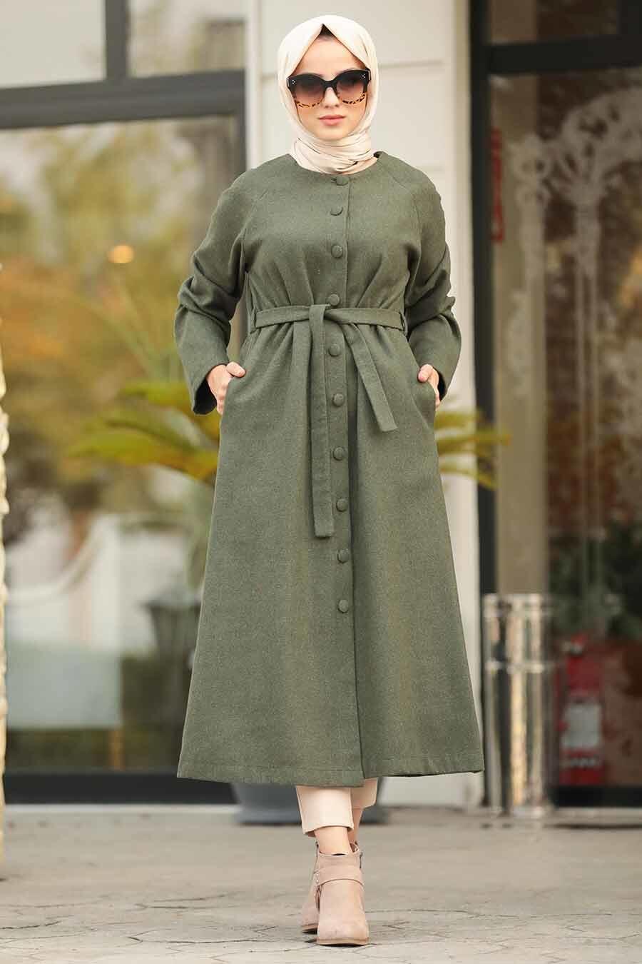 Neva Style - Khaki Hijab Felt Coat 5505HK