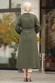 Neva Style - Khaki Hijab Felt Coat 5505HK - Thumbnail
