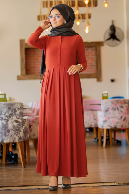 Neva Style - Kiremit Tesettür Elbise 40680KRMT