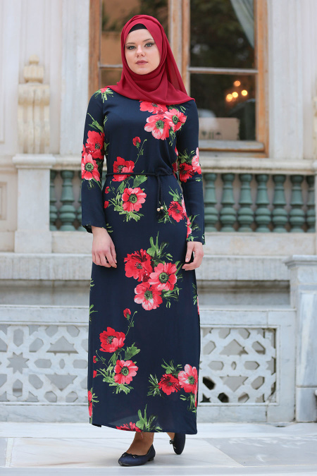 Neva Style - Kırmızı Çiçek Desenli Lacivert Tesettürlü Elbise 53548L
