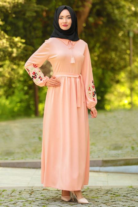 Neva Style - Kolları Çiçek İşlemeli Somon Tesettür Elbise 41280SMN