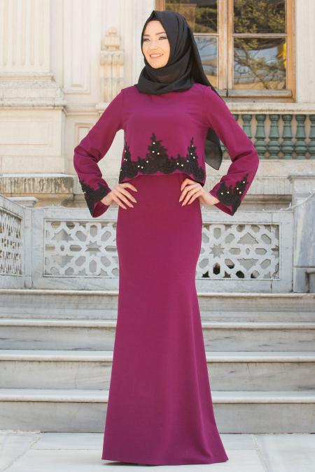 Neva Style - Kolları Dantel Detaylı Mürdüm Tesettür Abiye Elbise 10053MU