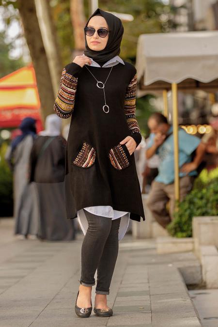 Neva Style - Kolları Desenli Siyah Tesettür Triko Tunik 15367S