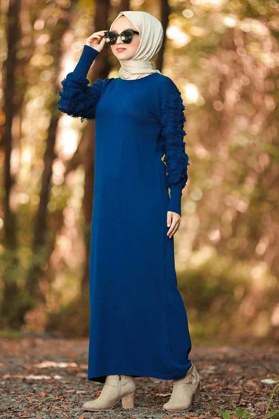 Neva Style - Kolları Detaylı İndigo Mavisi Tesettür Triko Elbise 1020IM