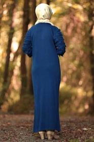 Neva Style - Kolları Detaylı İndigo Mavisi Tesettür Triko Elbise 1020IM - Thumbnail