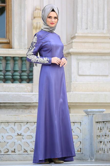 Neva Style - Kolları Detaylı Lila Tesettür Abiye Elbise 3519LILA