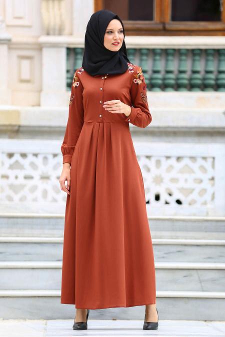 Neva Style - Kolları Nakışlı Kiremit Tesettür Elbise 41730KRMT