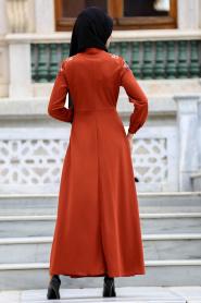 Neva Style - Kolları Nakışlı Kiremit Tesettür Elbise 41730KRMT - Thumbnail