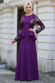 Neva Style - Kolları Payet Detaylı Ceket Görünümlü Mor Tesettür Abiye Elbise 52580MOR - Thumbnail
