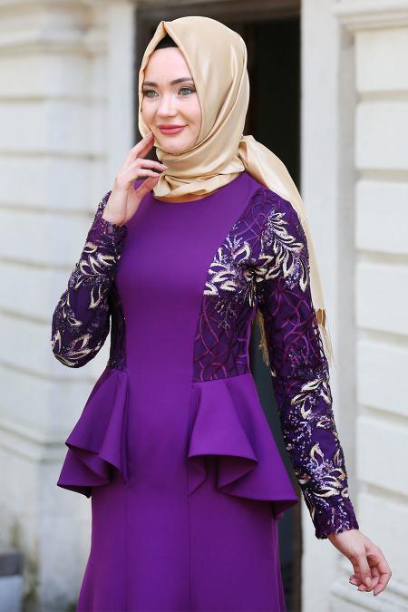 Neva Style - Kolları Payet Detaylı Ceket Görünümlü Mor Tesettür Abiye Elbise 52580MOR
