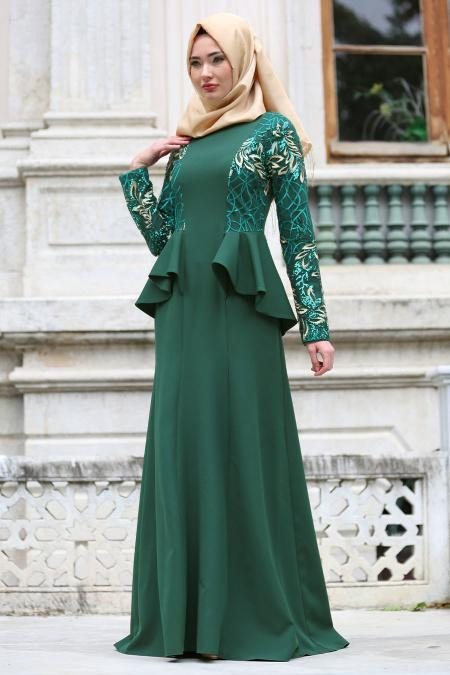 Neva Style - Kolları Payet Detaylı Ceket Görünümlü Yeşil Tesettür Abiye Elbise 52580Y