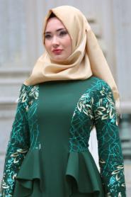 Neva Style - Kolları Payet Detaylı Ceket Görünümlü Yeşil Tesettür Abiye Elbise 52580Y - Thumbnail