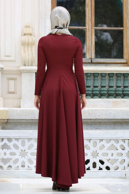Neva Style - Kolye Detaylı Bordo Tesettür Abiye Elbise 41470BR