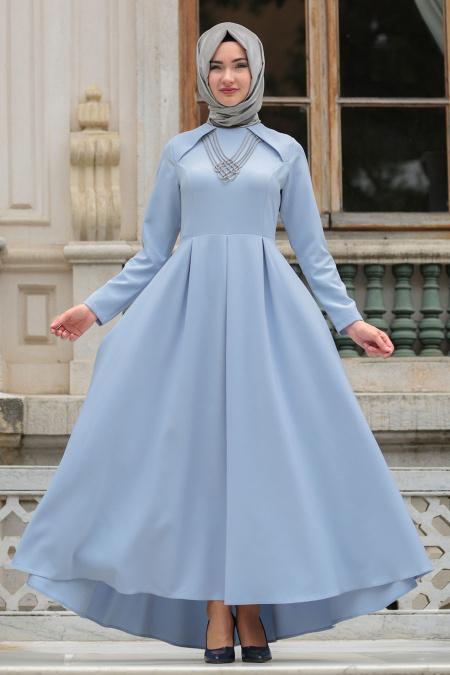 Neva Style - Kolye Detaylı Buz Mavisi Tesettür Abiye Elbise 41470BM