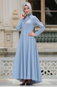 Neva Style - Kolye Detaylı Buz Mavisi Tesettür Abiye Elbise 41470BM - Thumbnail