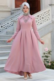 Neva Style - Kolye Detaylı Gül Kurusu Tesettür Abiye Elbise 41470GK - Thumbnail