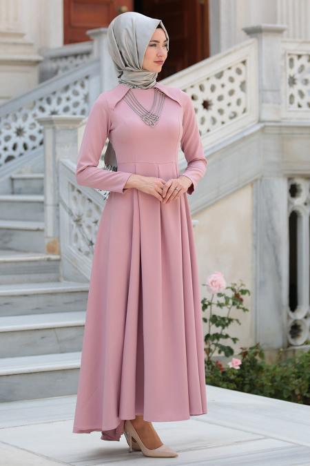 Neva Style - Kolye Detaylı Gül Kurusu Tesettür Abiye Elbise 41470GK