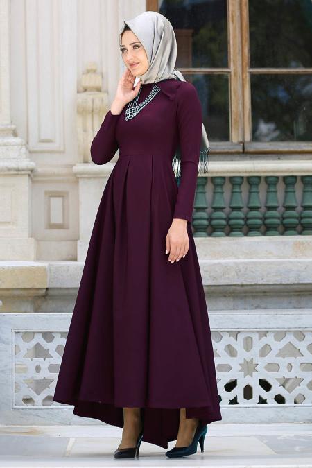 Neva Style - Kolye Detaylı Mürdüm Tesettür Abiye Elbise 41470MU