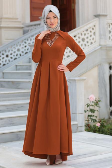 Neva Style - Kolye Detaylı Taba Tesettür Abiye Elbise 41470TB