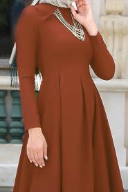 Neva Style - Kolye Detaylı Taba Tesettür Abiye Elbise 41470TB - Thumbnail