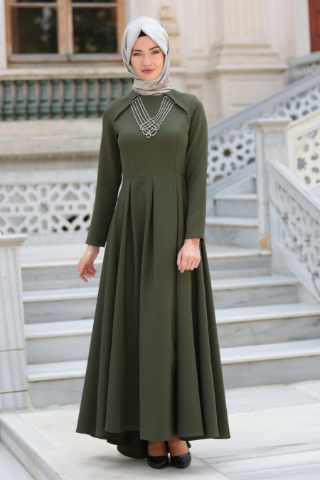 Neva Style - Kolye Detaylı Yeşil Tesettür Abiye Elbise 41470Y