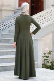Neva Style - Kolye Detaylı Yeşil Tesettür Abiye Elbise 41470Y - Thumbnail