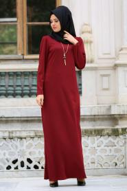 Neva Style - Kolyeli Bordo Tesettür Elbise 41490BR - Thumbnail