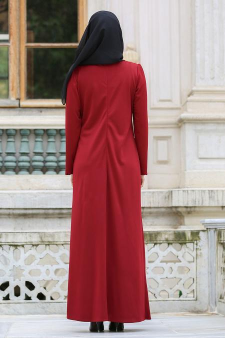 Neva Style - Kolyeli Bordo Tesettür Elbise 41490BR