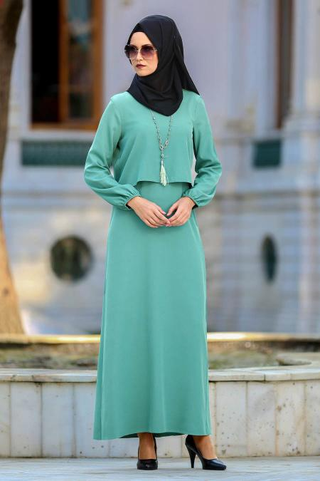 Neva Style - Kolyeli Çağla Yeşili Tesettür Abiye Elbise 41790CY