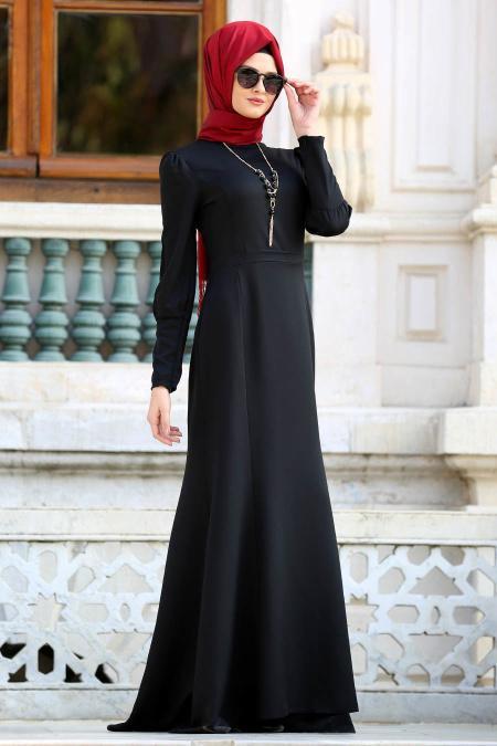 Neva Style - Kolyeli Siyah Tesettür Abiye Elbise 41860S